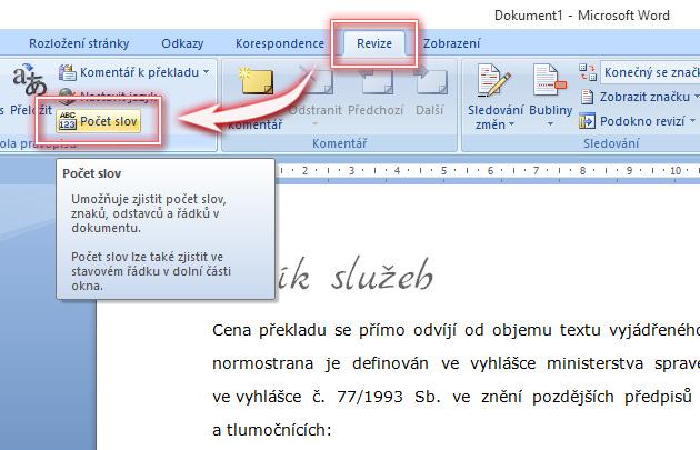 Jak zjistit počet znaků a kolik normostran má dokument?